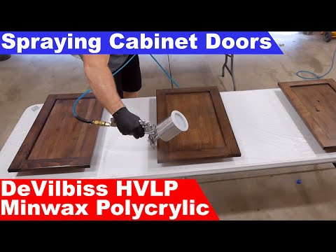 DIY Smooth Finish On Cabinet Doors With Minwax Polycrylic And DeVilbiss HVLP Spray Gun
