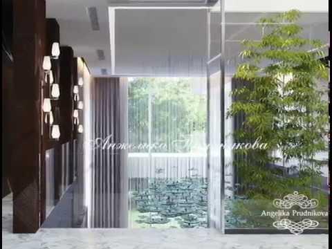 Обзор интерьера холлов первого и второго этажа в загородной резиденции