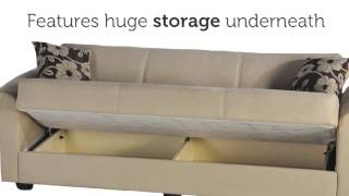 Elita S Three Seat Sofa Sleeper With Storage In Rainbow Beige