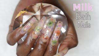 Strawberry Milk Bath Nails - Polygel Nails that Glow In The Dark - Nail Tutorial