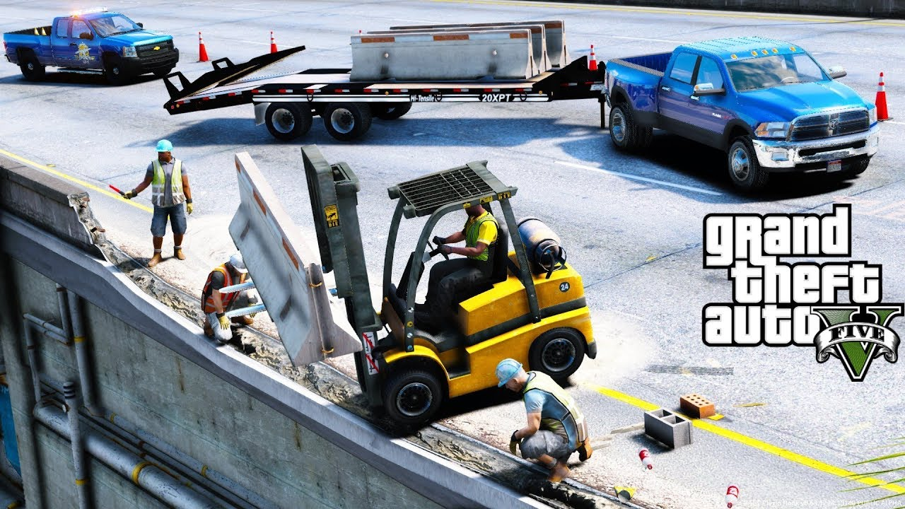GTA 5 Real Life Mod #108 Forklift Placing Concrete Barriers To Repair The  Highway - Construction Mod