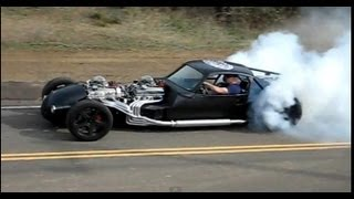 V16 HOT ROD (Twin V8) doing a burnout, part 2