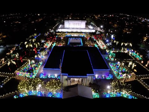 From the Air - Mesa Arizona Temple Christmas Lights 2014