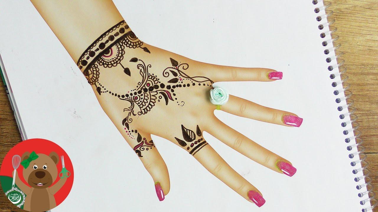 رسم تاتو حنة على اليد رسم وتلوين فى مجلة توب موديل Youtube