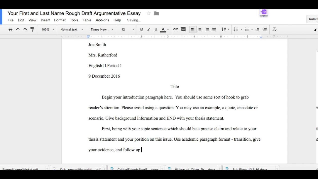example of draft essay