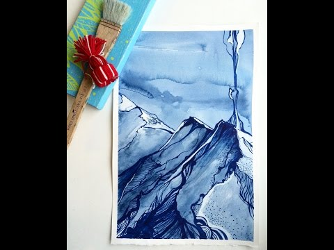 Watercolour speed paint. Landscape, clouds, mountains. Рисуем акварелью.