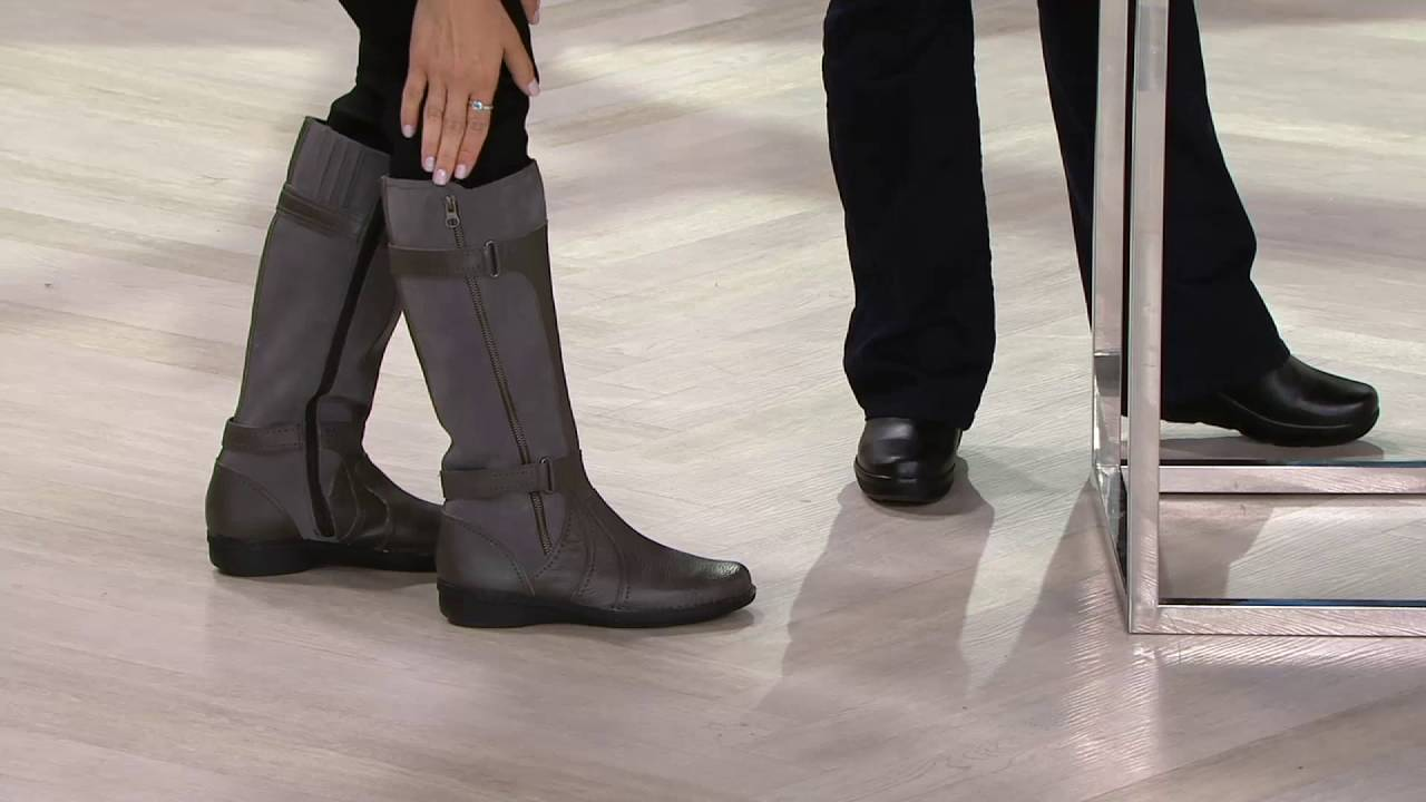 648a2f23e4a Clarks Leather Tall Boots Choice of Calf Width - Whistle on QVC