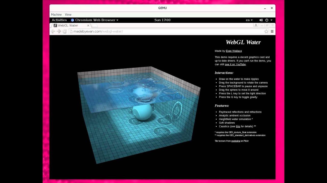 WebGL demo running inside a QEMU virtual machine