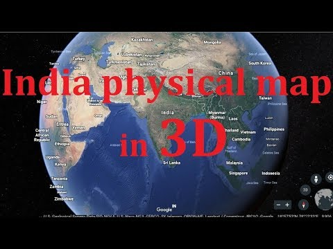 india physical map in 3d boundries views.
