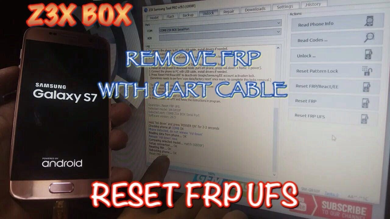Reset Uart Ufs For Using Cable Frp Box Z3x Samsung Remove