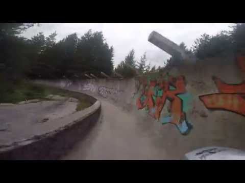 Cycling on bobsled track on mountain Trebevic, Sarajevo