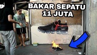 PRANK BAKAR SEPATU OFF WHITE SEHARGA 11 JUTA !!! ALINGGA EMOSI PARAH !!! - Prank