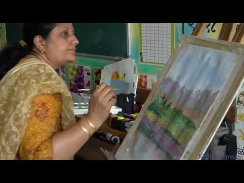 Painting video of step by step landscape painting, nature painting by artist Chitra Vaidya