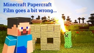 Papercraft Minecraft film goes a bit wrong