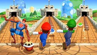 Mario Party 9 MiniGames - Mario Vs Spider Man Vs Luigi Vs SpongeBob (Master Difficulty)