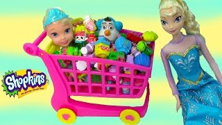 Shopkins Large Shoppin Cart Disney Frozen Queen Elsa Toddler Olaf Snowman Shopping Playset Blind Bag