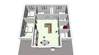 проект дома на 140 м2 (4 спальни) 1 этаж