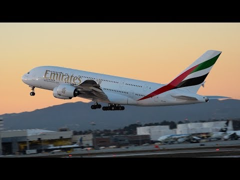 Emirates Airbus A380-800 [A6-EEL] Departing LAX.