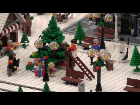 Lego Christmas Village with winter lego train