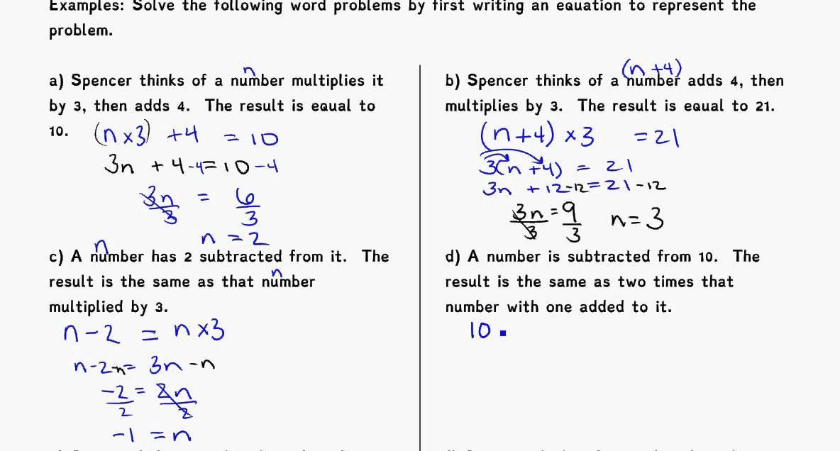 Algebra word problems grade 9