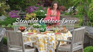 DIY Stenciled Tablecloth Project using Cutting Edge Stencils