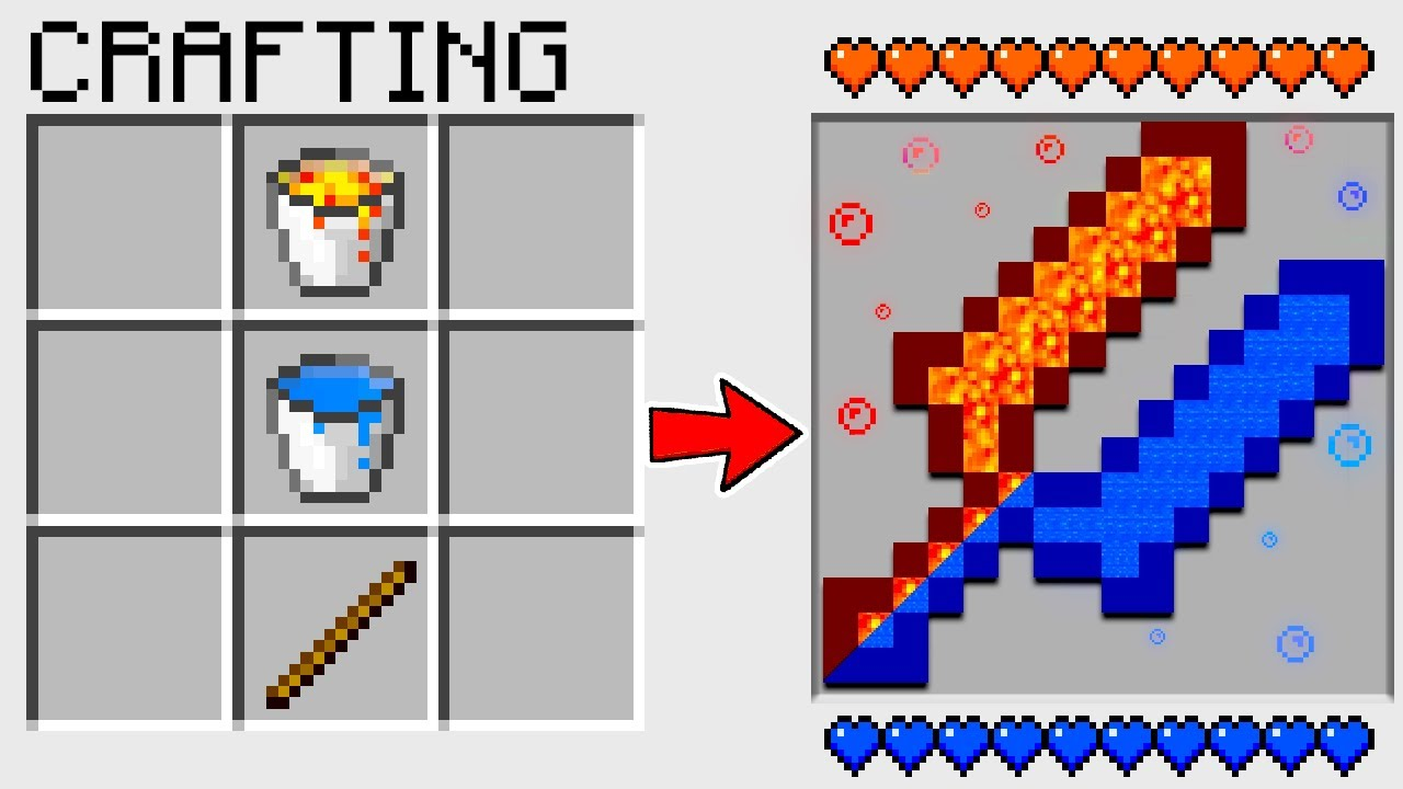 HOW TO CRAFT a DOUBLE WATER LAVA SWORD in MINECRAFT? SECRET RECIPE *WoW*