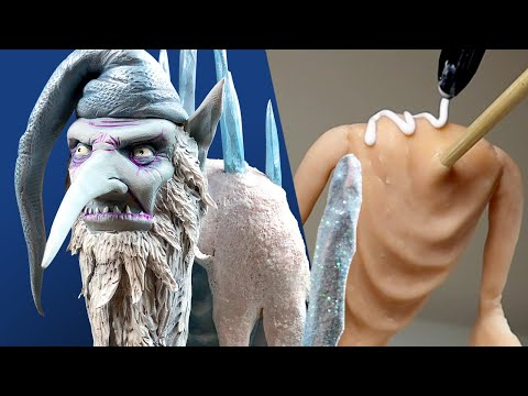 Making an EPIC WINTER WARLOCK / WIZARD - Satisfying Sculpture Process with Polymer Clay