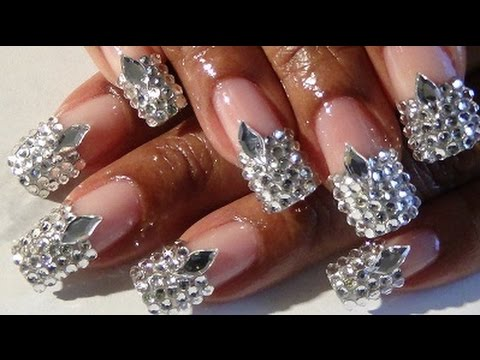 2015 my b day completely blinged out french tip nail design youtube prinsesfo Gallery