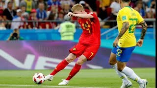 """BELGIUM vs BRAZIL 2018 FIFA WORLD CUP  —  BEST GOAL OF THE MATCH FROM """" KDB """" ! Power shot in SLO MO"""
