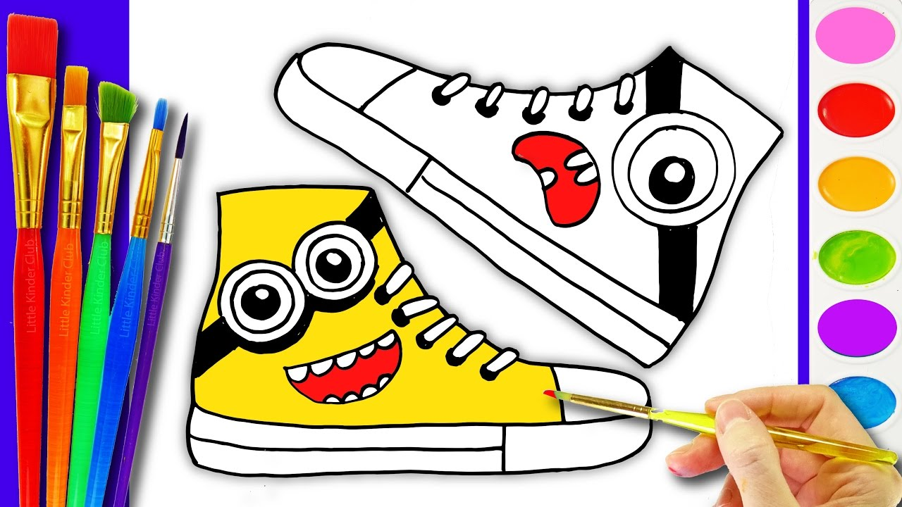 how to draw and paint kids shoes drawing pages to color for kids l