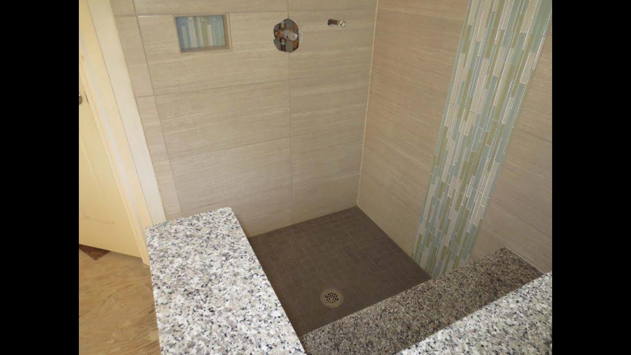 Large format tile bathroom time lapse installed with - How to install ceramic tile on wall ...