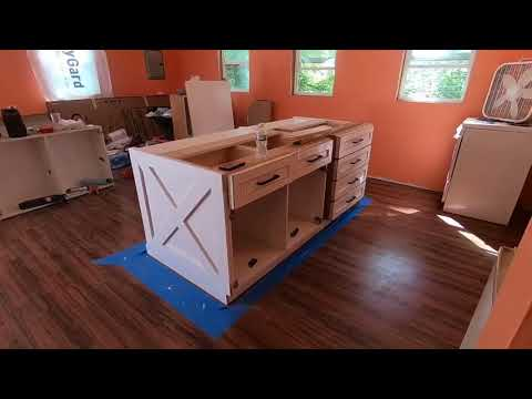Building a kitchen island from cabinets