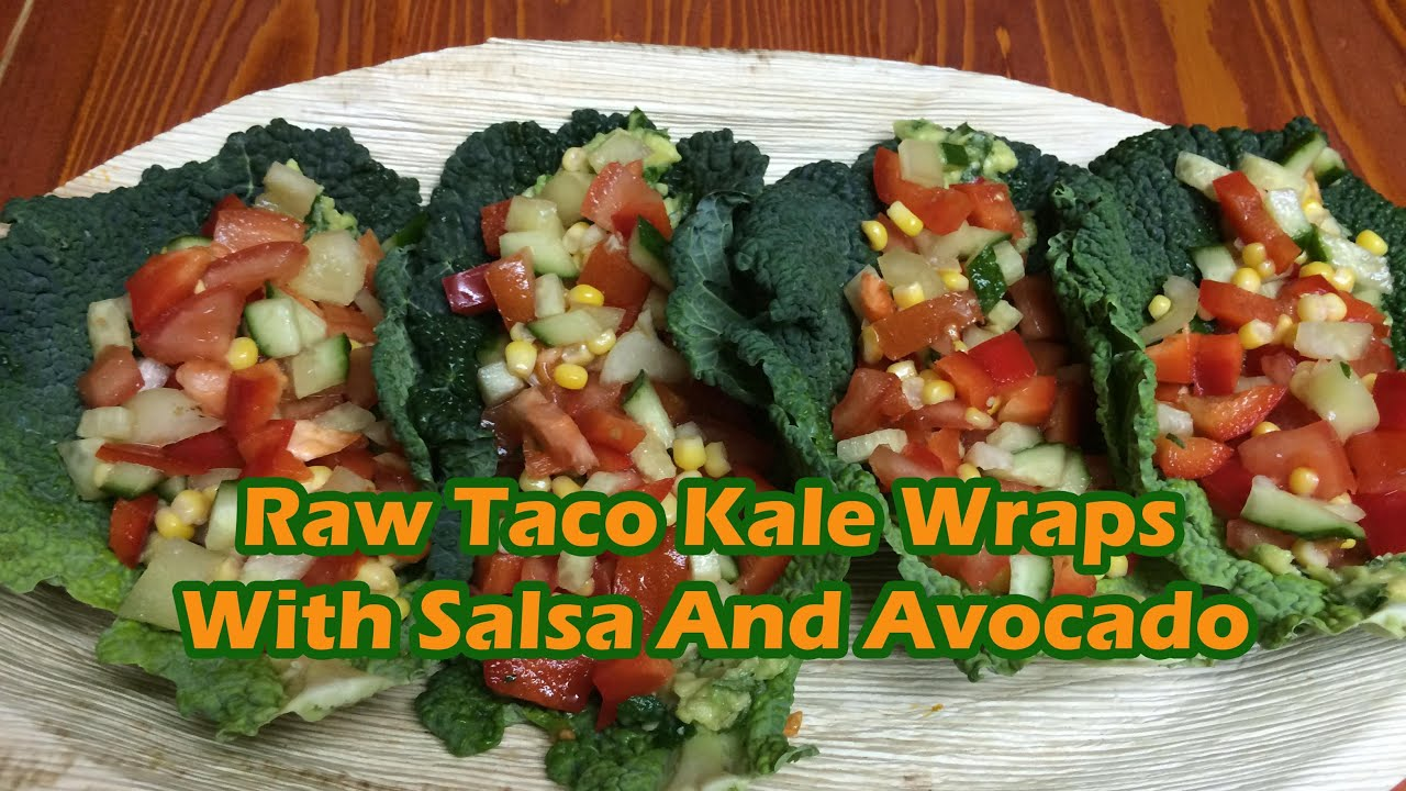 Raw taco kale wraps with salsa and avocado cream youtube raw taco kale wraps with salsa and avocado cream forumfinder Images