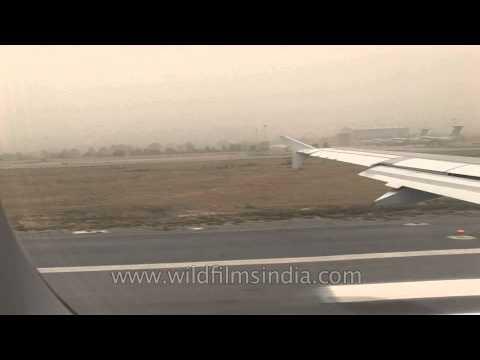 Airplane before takeoff at IGI Airport, New Delhi