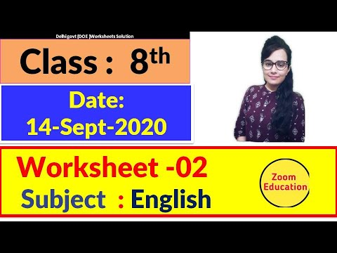 Class 8 Worksheet 02 English : 14 Sept 2020