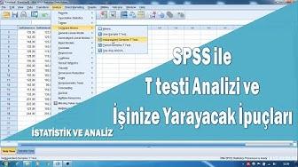 Spss ile T testi (Bağımsız Örneklemler için) ve hipotez analizleri