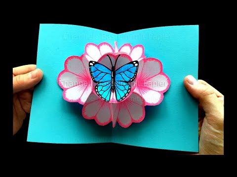 Basteln mit Papier: Pop Up Karten Blumen & Schmetterling selber machen 🌸 DIY Muttertagsgeschenk