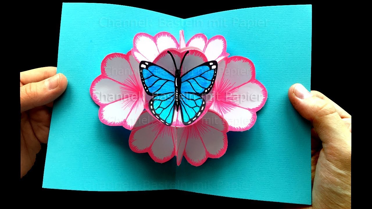 Bastelideen Schmetterling Pop Up Card Flower And A Butterfly Diy Diy Gifts For Mother S Day Easter Diy
