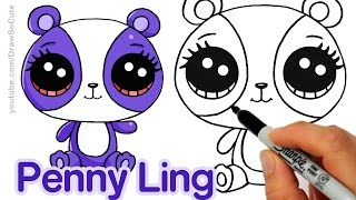 How to Draw LPS Penny Ling step by step Easy - Littlest Pet Shop Panda(Follow along to learn how to draw this cute purple panda from Littlest Pet Shop. Her name is Penny Ling and she's really sweet and loves ribbon gymnastics., 2016-10-12T15:11:31.000Z)