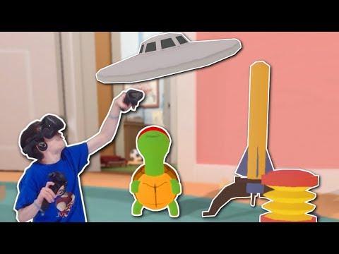 TURTLE HELPS BABY DESTROY UFO!? - Baby Hands VR Gameplay - HTC Vive Baby Simulator