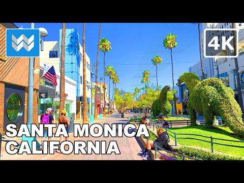 [4K] Downtown Santa Monica in Los Angeles, California USA - Walking Tour & Travel Guide 🎧 Binaural