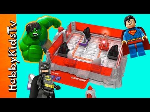 Laser Maze Junior GAME! Lego Batman + Superman and Hulk Toy Fun HobbyKidsTV