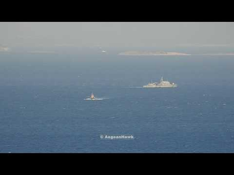 Hellenic Navy and Coast Guard vessels during SAR operation South of Oinousses isl in Chios Strait.