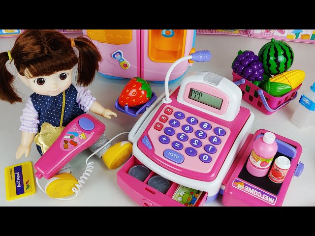 Baby doll fruit and food Mart toys play house story - ToyMong TV 토이몽