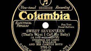1929 Ted Wallace - Sweet Seventeen (That's What I Call My Baby) (Smith Ballew & group, vocal)