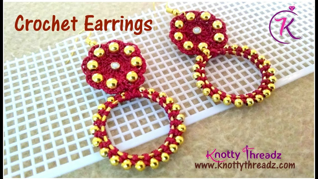 How To Make Crochet Earrings With Gold Beads Using Kamal Embroidery