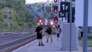 CN & VIA trains at Brockville 23 June 2015