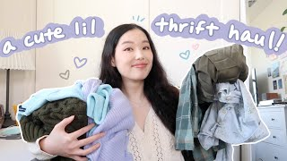 my CUTEST thrift haul yet (winter & spring try-on haul)