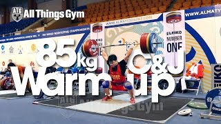 85kg Warm up Area Clean & Jerk Almaty 2014 World Championships w/ Tian Tao Okulov Aukhadov
