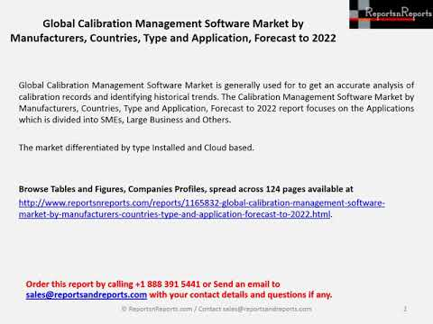 Global Calibration Management software Market is Expected to Show Growth by 2022